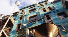 Musical-Rain-Gutter-Funnel-Wall-in-Dresden-Germany-4